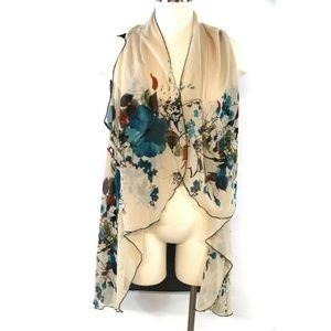 New Adrianna Howard's Women Vest Open Front Sheer